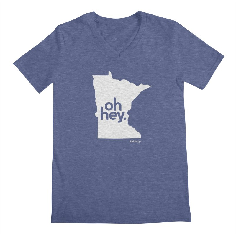 Oh Hey : Minnesota (White) Men's Regular V-Neck by 144design