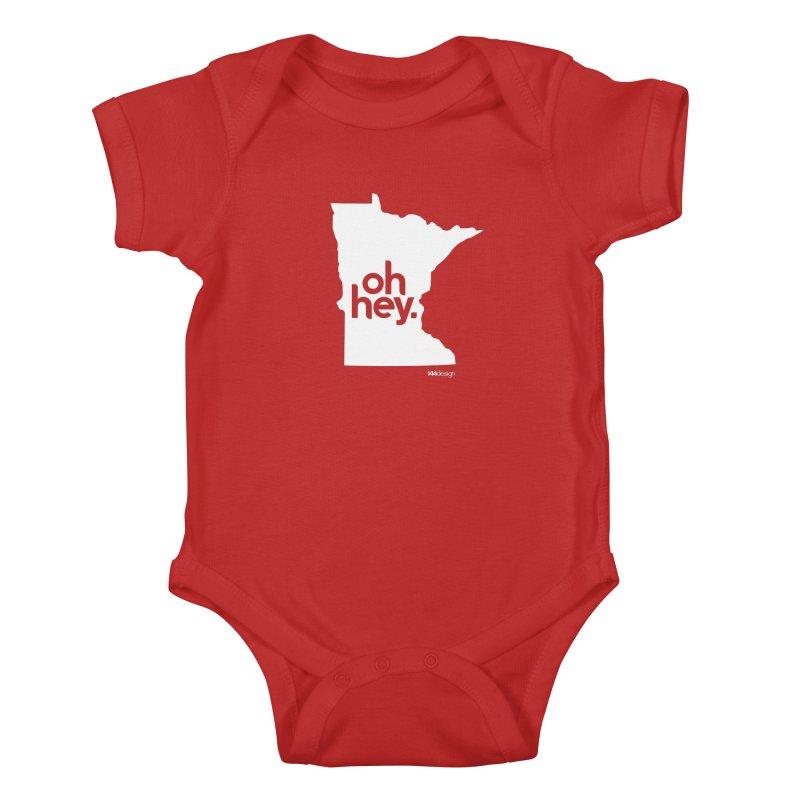 Oh Hey : Minnesota (White) Kids Baby Bodysuit by 144design