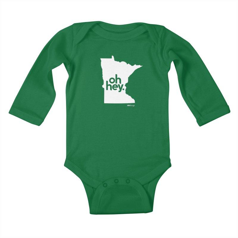 Oh Hey : Minnesota (White) Kids Baby Longsleeve Bodysuit by 144design