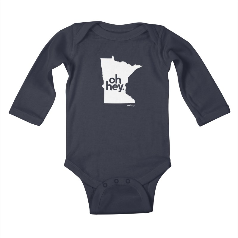 Oh Hey : Minnesota (White) Kids Baby Longsleeve Bodysuit by 144design