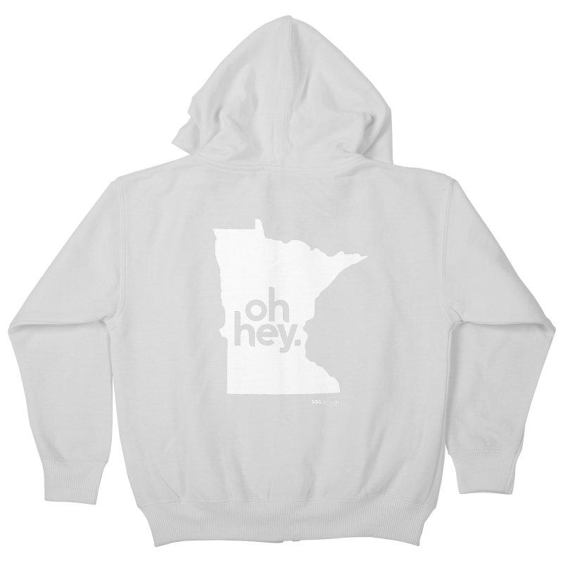 Oh Hey : Minnesota (White) Kids Zip-Up Hoody by 144design