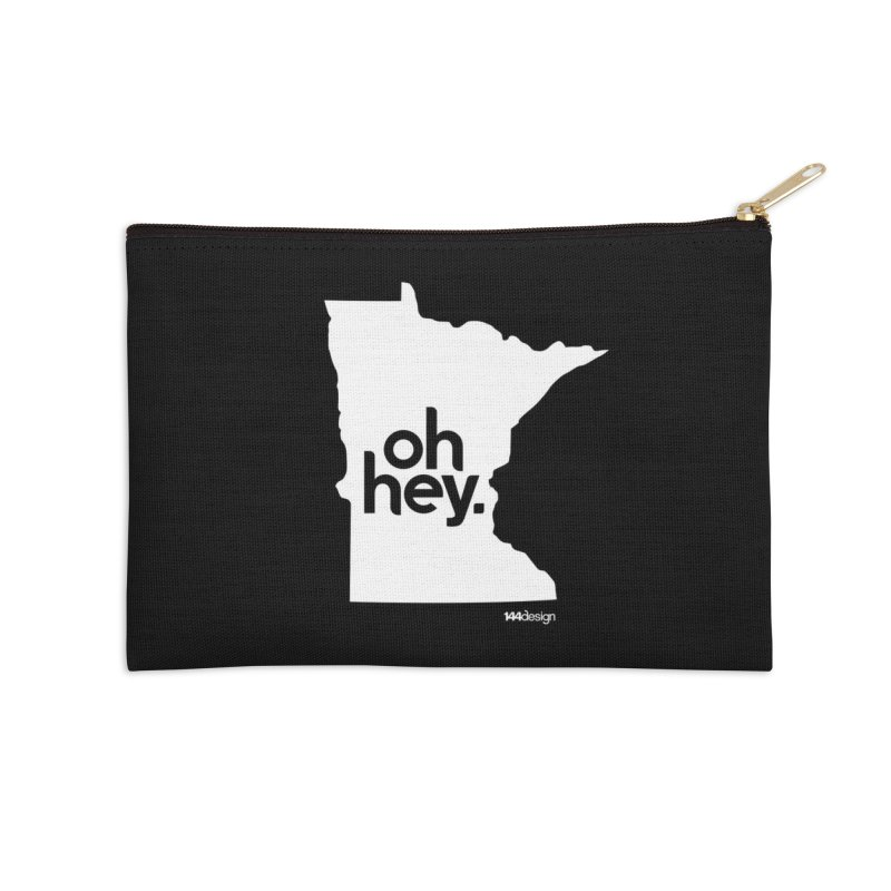 Oh Hey : Minnesota (White) Accessories Zip Pouch by 144design