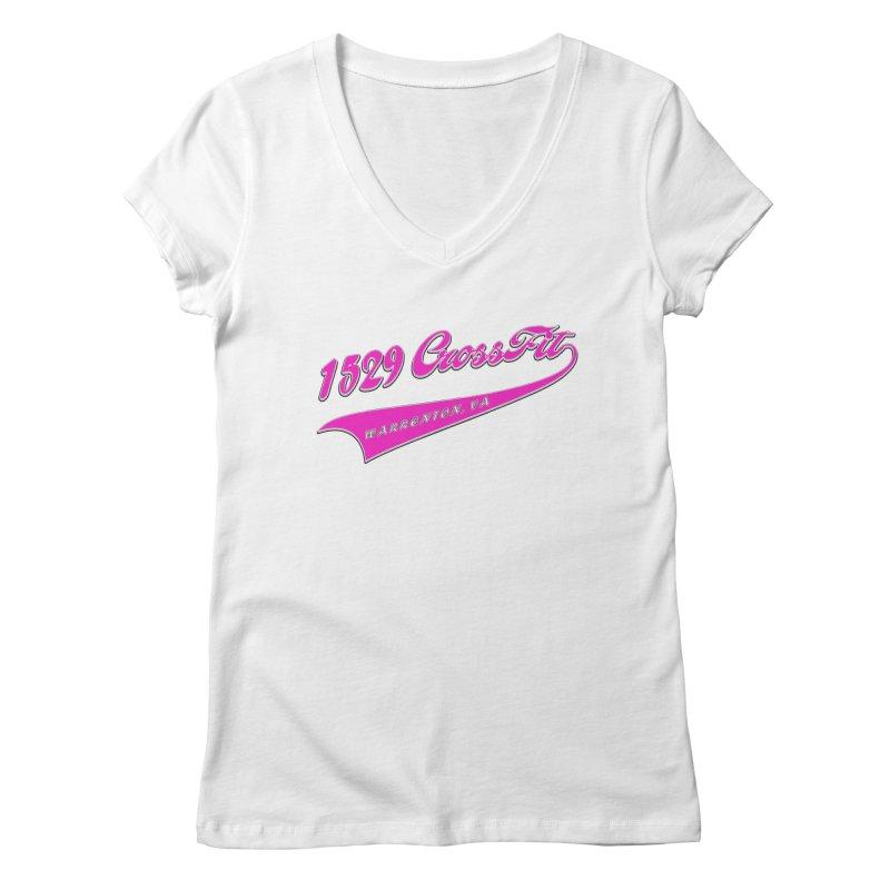 1529 Banner -Pink Women's Regular V-Neck by 1529 CrossFit Merch
