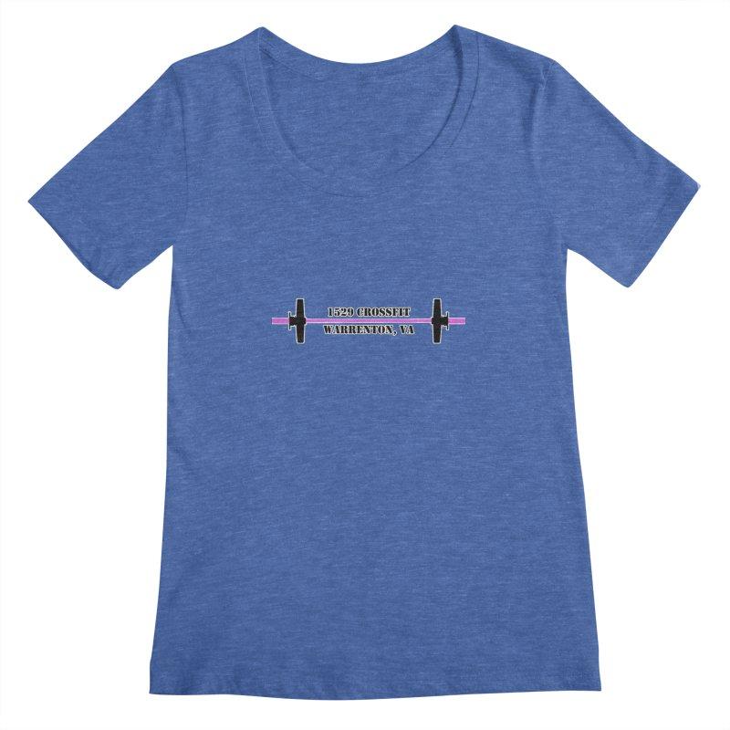 Pink Barbell Logo Women's Regular Scoop Neck by 1529 CrossFit Merch