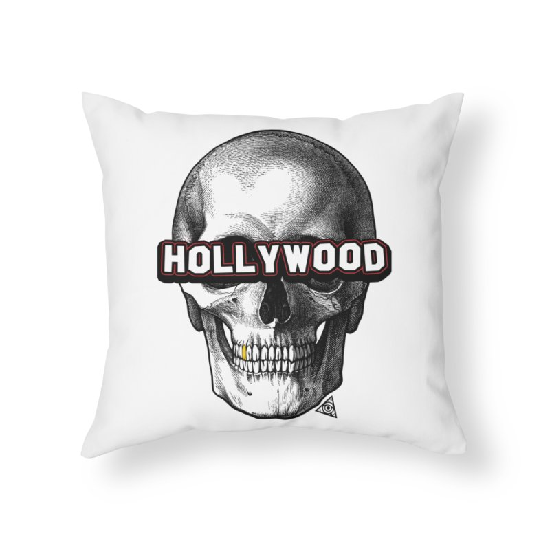 Hollywood Is Dead - Skull & Bones - Light Home Throw Pillow by 90FIVE