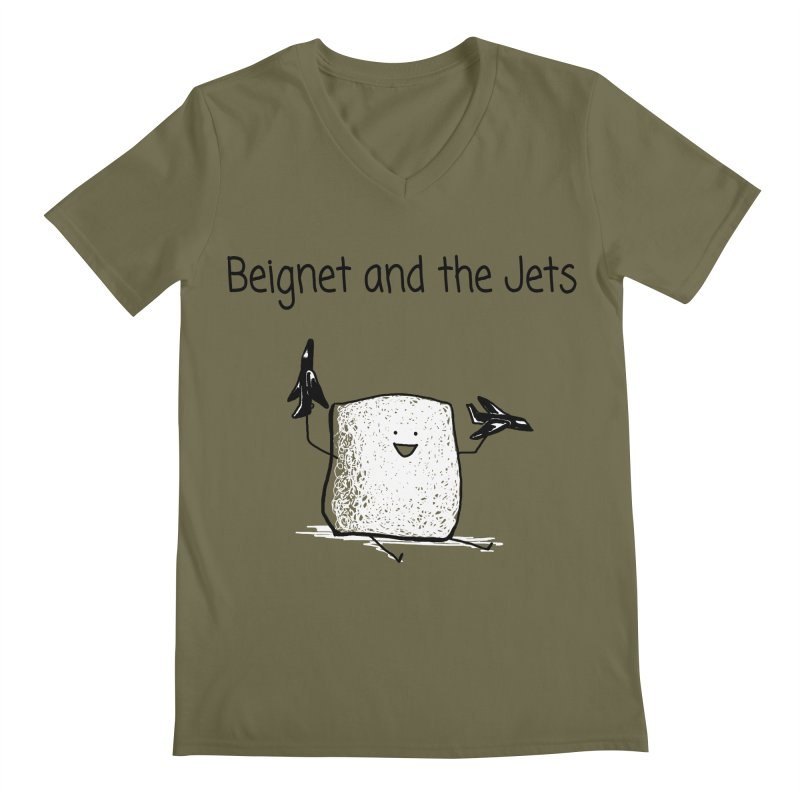 Beignet and the Jets Men's V-Neck by 1 OF MANY LAURENS