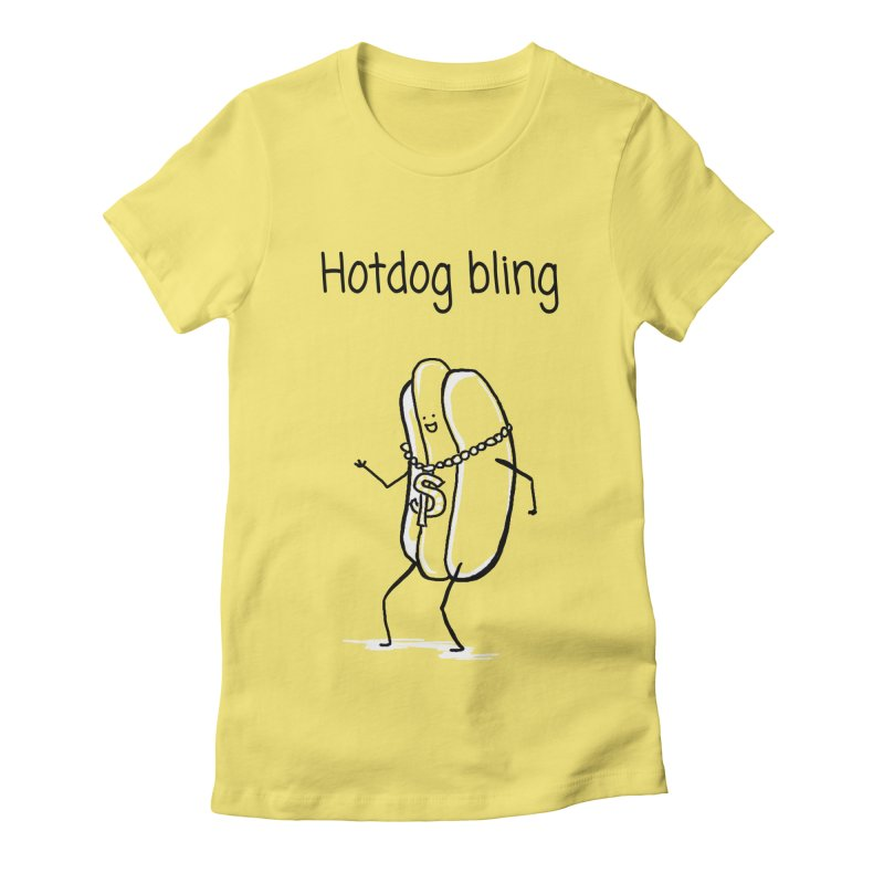 Hotdog bling Women's Fitted T-Shirt by 1 OF MANY LAURENS
