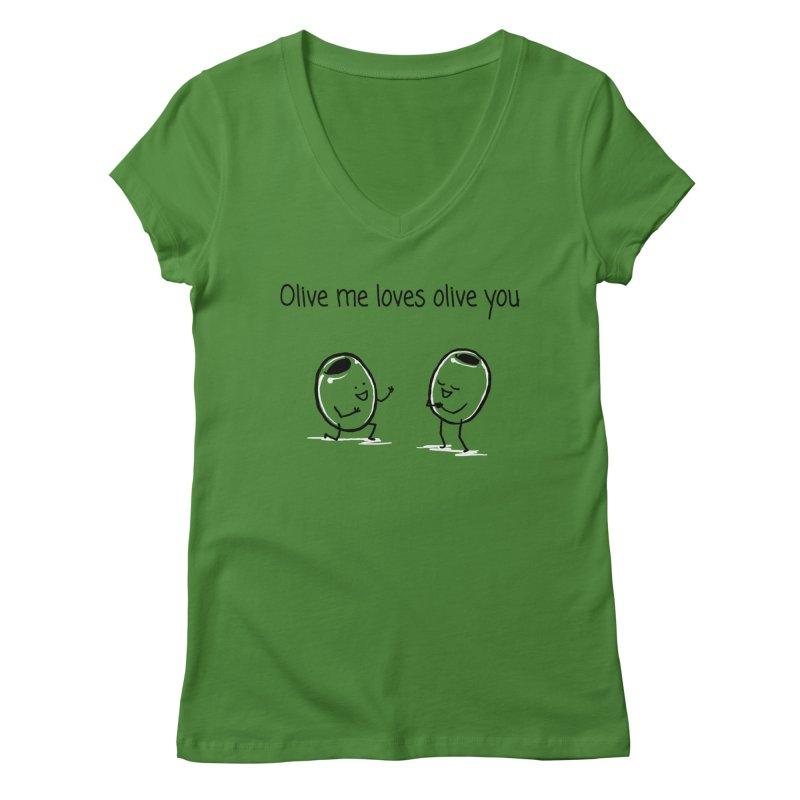 Olive me loves olive you Women's Regular V-Neck by 1 OF MANY LAURENS