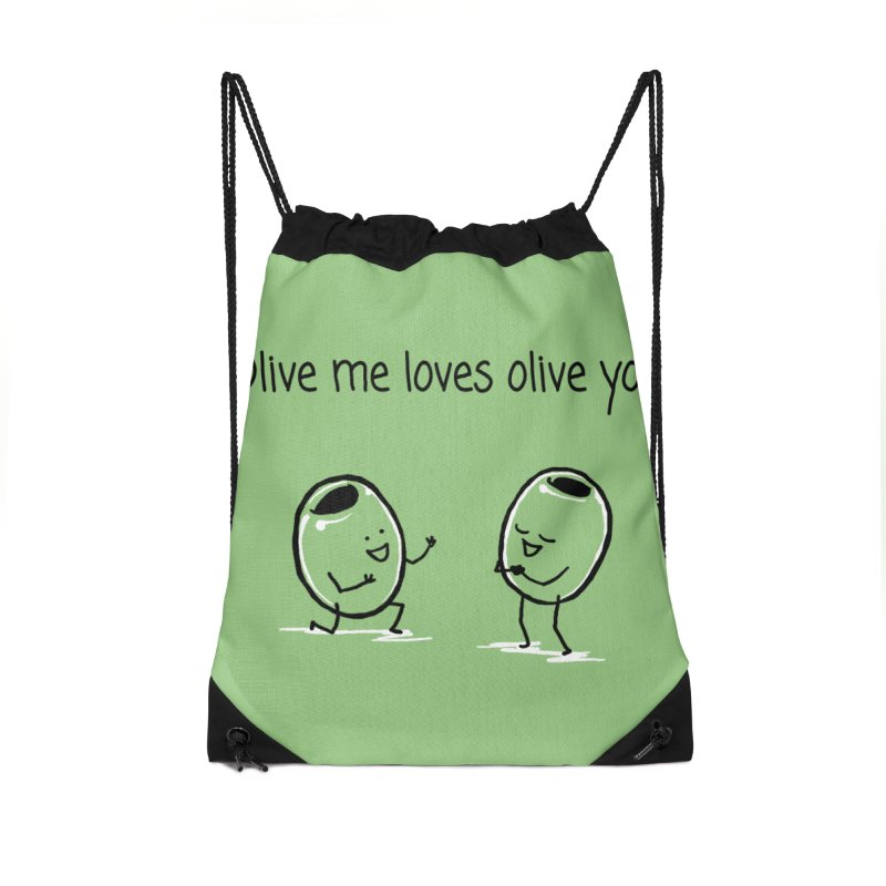 Olive me loves olive you Accessories Drawstring Bag Bag by 1 OF MANY LAURENS