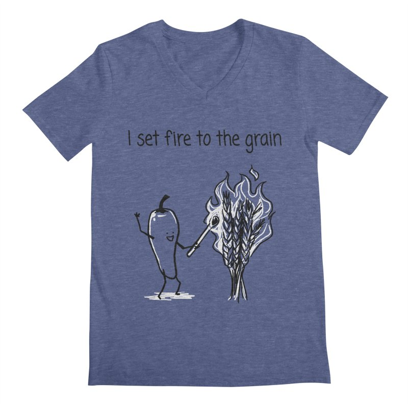 I set fire to the grain Men's Regular V-Neck by 1 OF MANY LAURENS