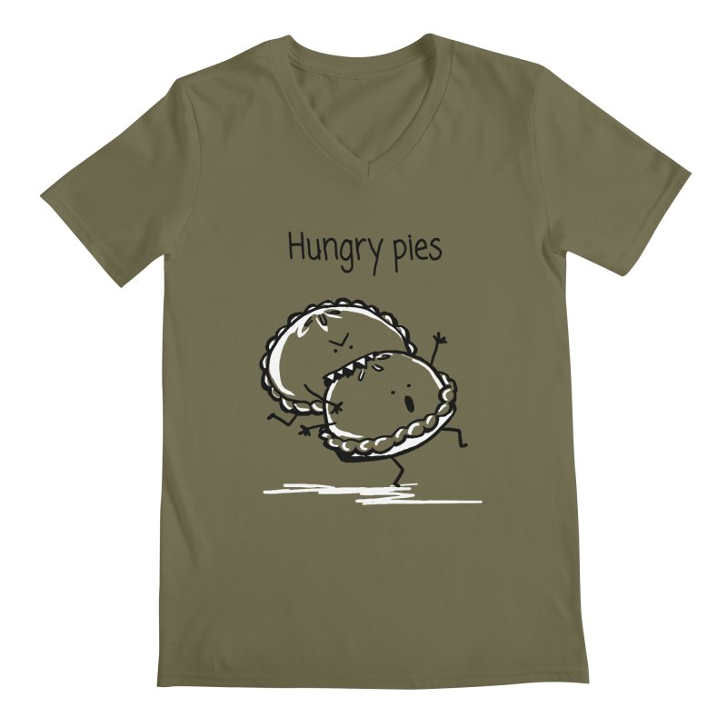Hungry pies Men's Regular V-Neck by 1 OF MANY LAURENS