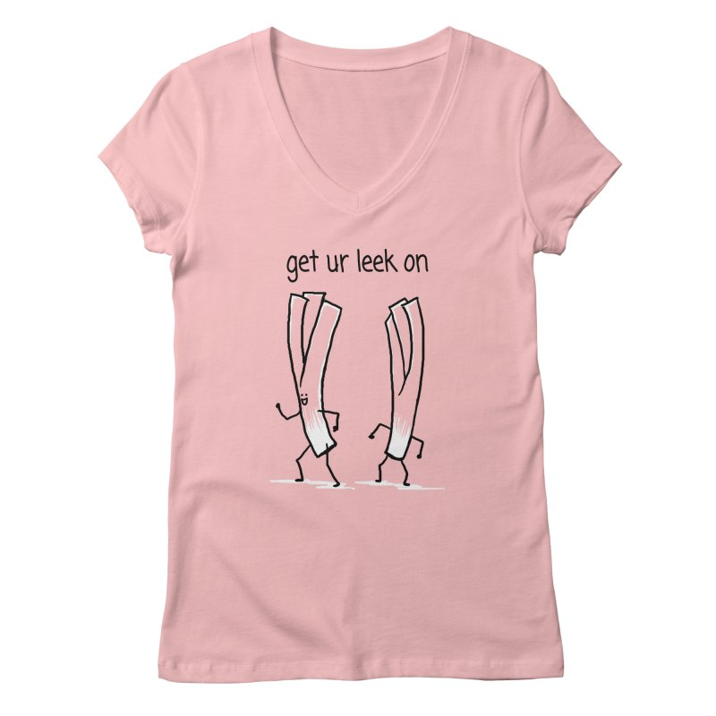 get ur leek on Women's V-Neck by 1 OF MANY LAURENS