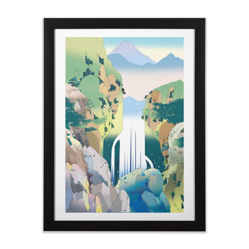 山奥の滝 Home Framed Fine Art Print by Kawano Art Shop