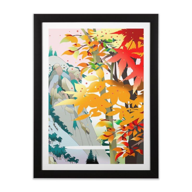 紅葉の谷 Home Framed Fine Art Print by Kawano Art Shop