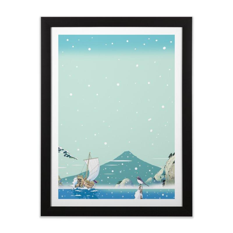 雪降る港へ帰還 Home Framed Fine Art Print by Kawano Art Shop
