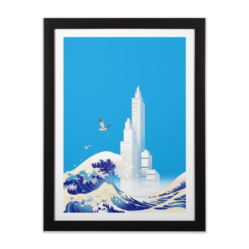 波間に見える都市 Home Framed Fine Art Print by Kawano Art Shop