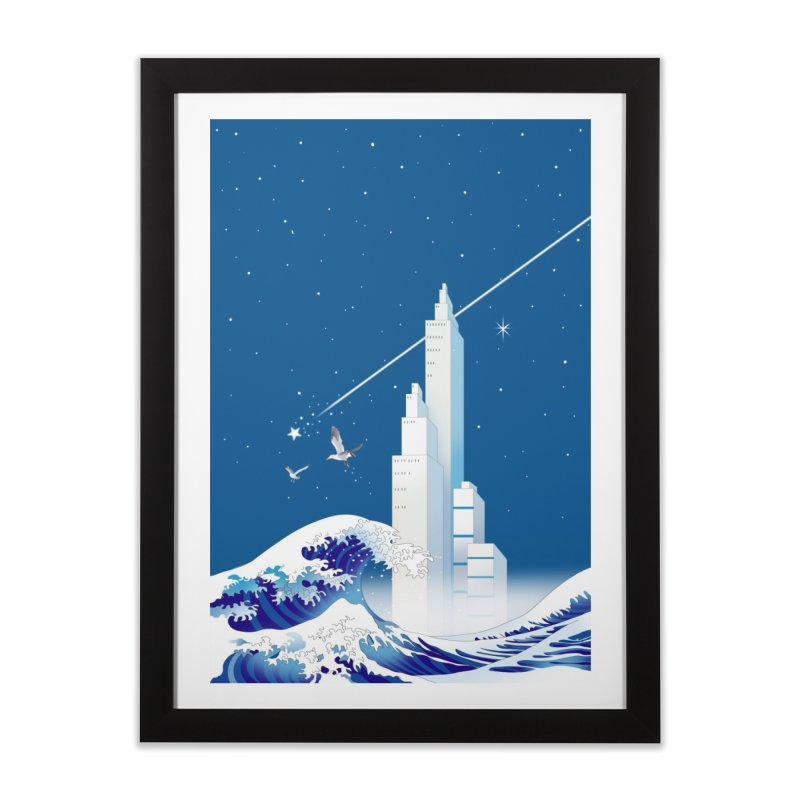 流星と波 Home Framed Fine Art Print by Kawano Art Shop