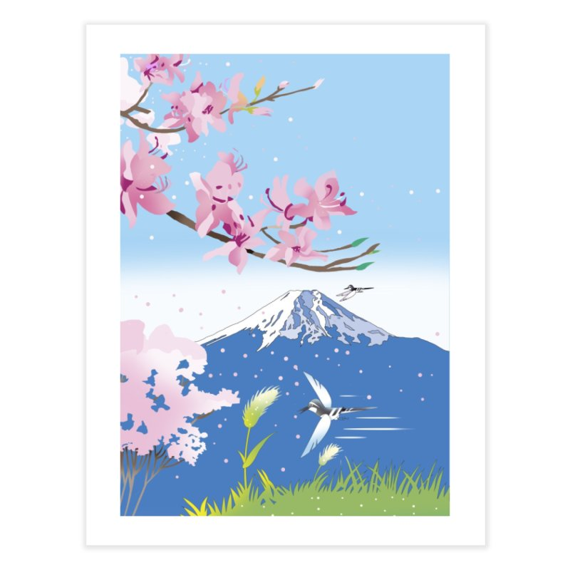 Cherry blossoms and wild birds Home Fine Art Print by Kawano Art Shop