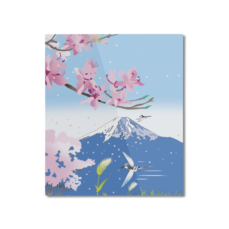 Cherry blossoms and wild birds Home Mounted Aluminum Print by Kawano Art Shop