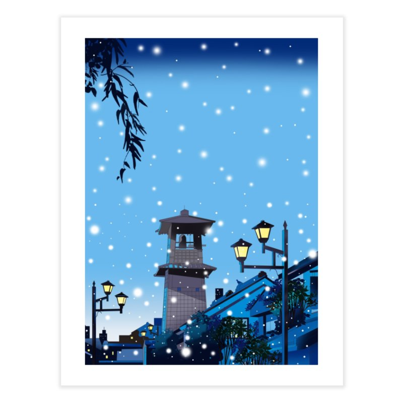 It snows in old Japanese townscapes Home Fine Art Print by Kawano Art Shop