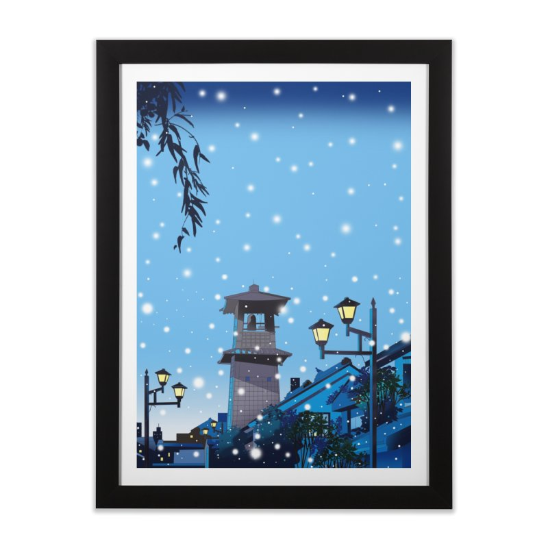 It snows in old Japanese townscapes Home Framed Fine Art Print by Kawano Art Shop
