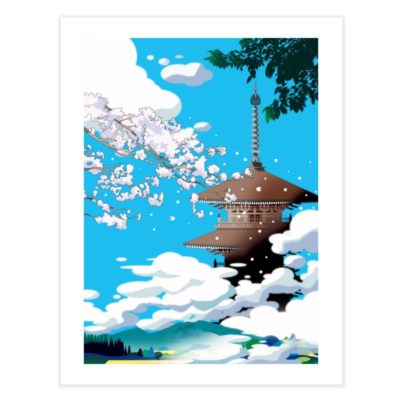 Cherry blossoms and an old temple tower Home Fine Art Print by Kawano Art Shop