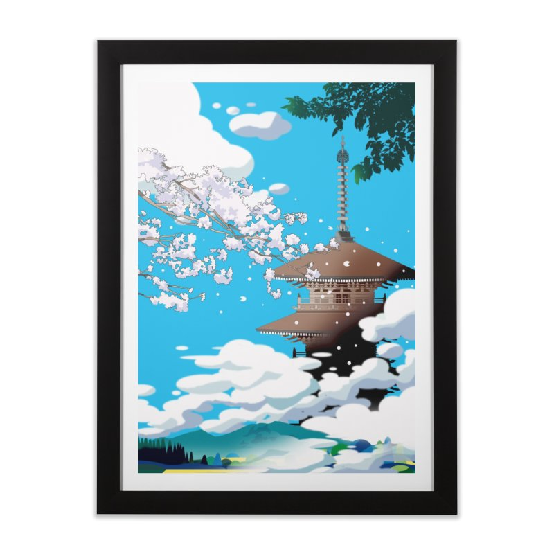 Cherry blossoms and an old temple tower Home Framed Fine Art Print by Kawano Art Shop