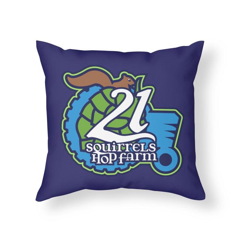 21 Squirrels Hop Farm Home Throw Pillow by 21 Squirrels Brewery Shop