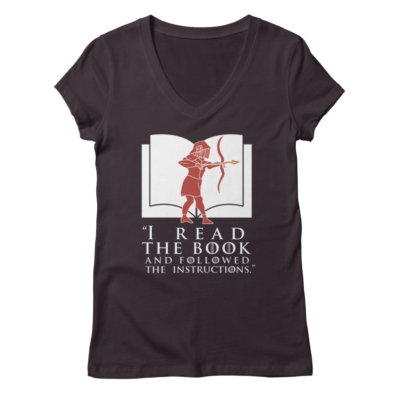 I read the book... white print Women's V-Neck by 21 Squirrels Brewery Shop