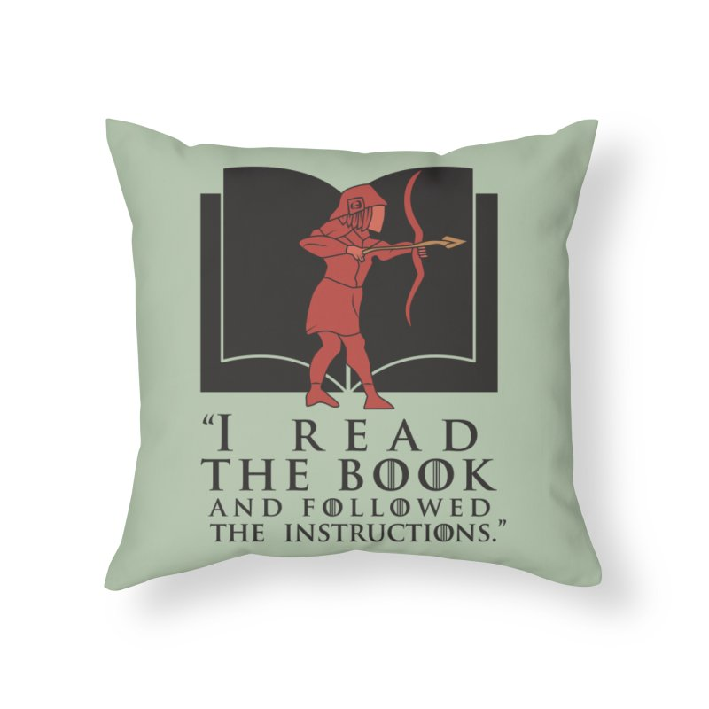 I read the book... dark print Home Throw Pillow by 21 Squirrels Brewery Shop