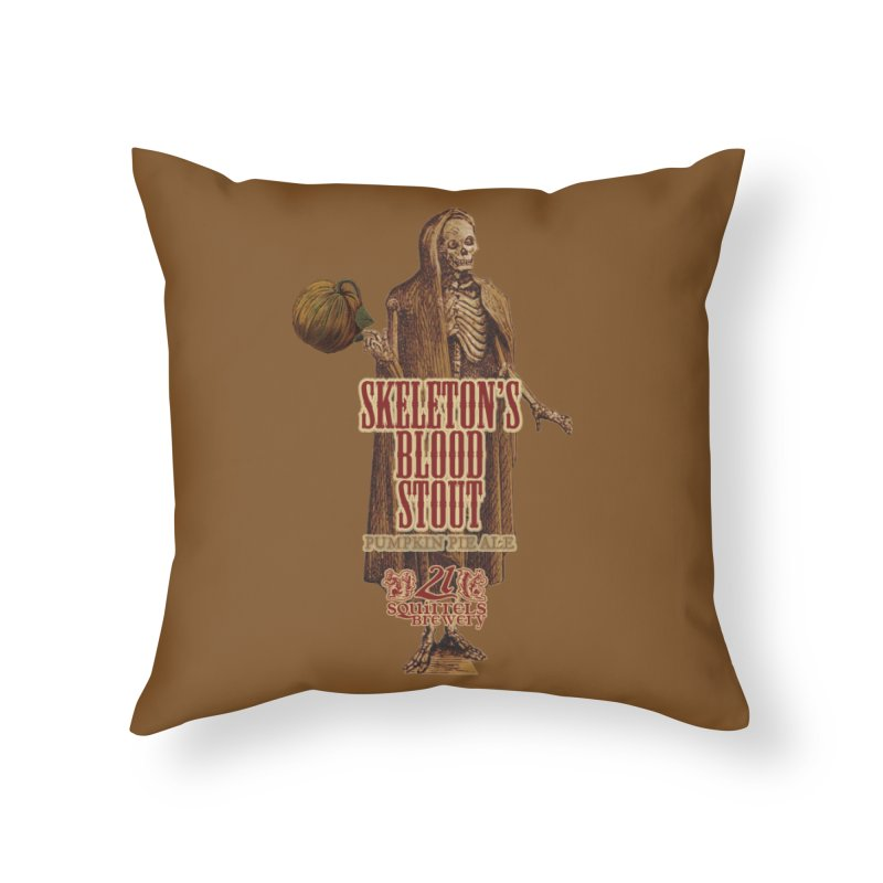 21 Squirrels Brewery Skeleton's Blood Stout Home Throw Pillow by 21 Squirrels Brewery Shop