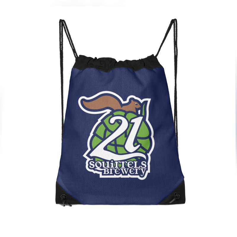 21 Squirrels Brewery Icon Logo Accessories Drawstring Bag Bag by 21 Squirrels Brewery Shop