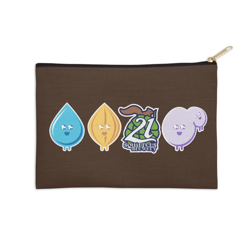 21 Squirrels Happy Ingredients Logo Version Accessories Zip Pouch by 21 Squirrels Brewery Shop
