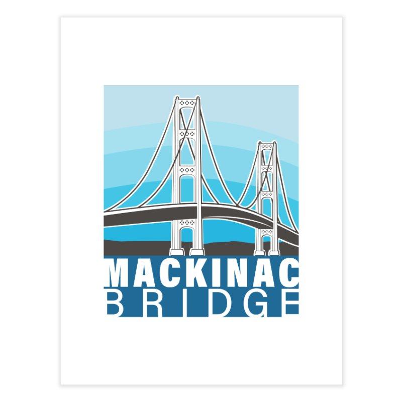 Mackinac Bridge Illustration Home Bath Mat by 21 Squirrels Brewery Shop