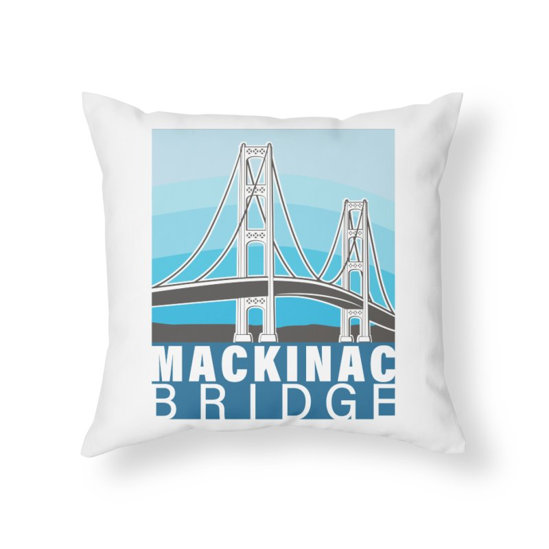 Mackinac Bridge Illustration Home Throw Pillow by 21 Squirrels Brewery Shop