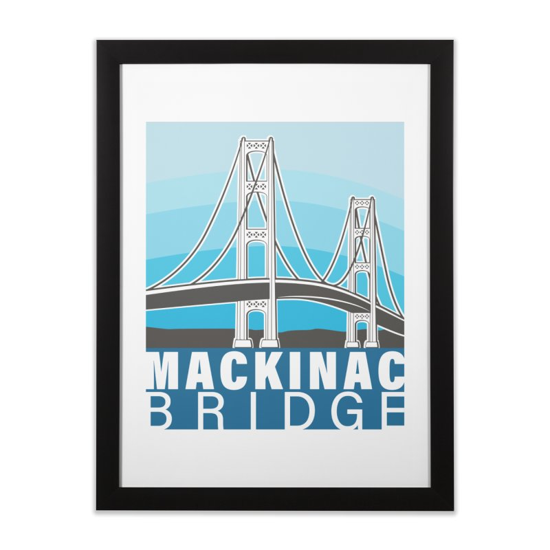 Mackinac Bridge Illustration Home Framed Fine Art Print by 21 Squirrels Brewery Shop