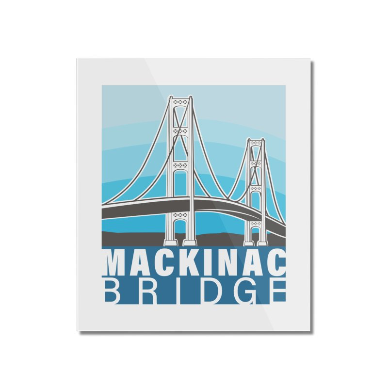 Mackinac Bridge Illustration Home Mounted Acrylic Print by 21 Squirrels Brewery Shop
