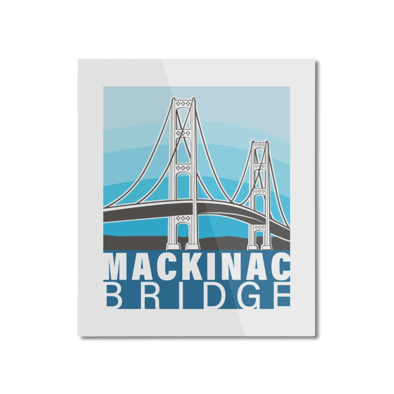 Mackinac Bridge Illustration Home Mounted Aluminum Print by 21 Squirrels Brewery Shop