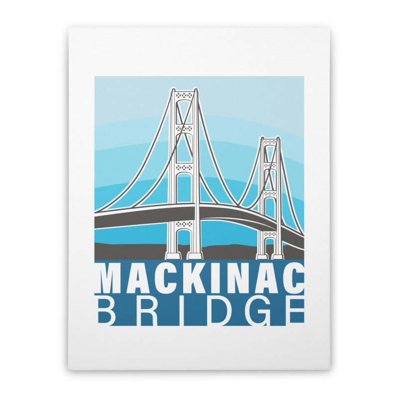 Mackinac Bridge Illustration Home Stretched Canvas by 21 Squirrels Brewery Shop