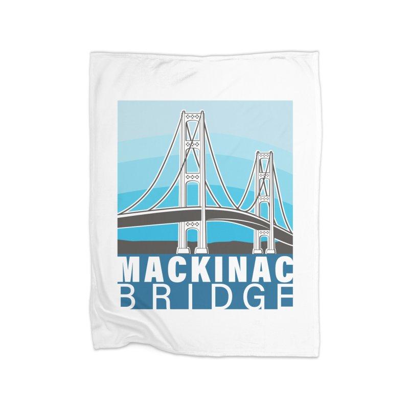Mackinac Bridge Illustration Home Fleece Blanket Blanket by 21 Squirrels Brewery Shop