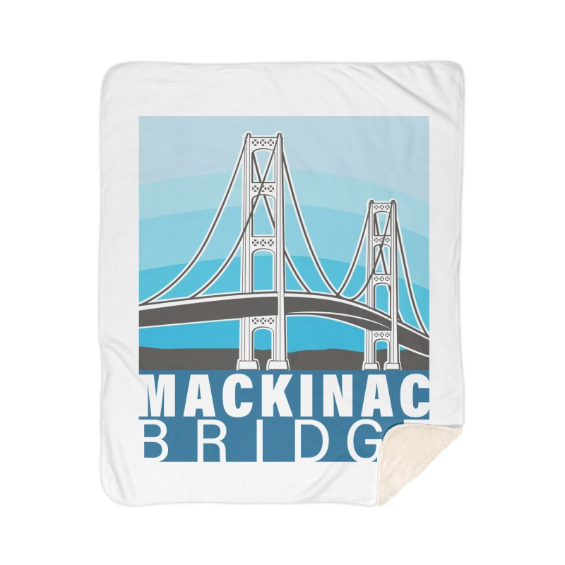 Mackinac Bridge Illustration Home Sherpa Blanket Blanket by 21 Squirrels Brewery Shop