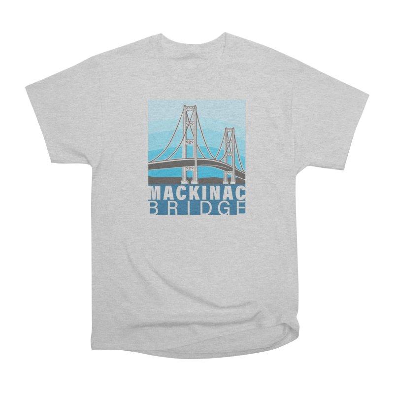 Mackinac Bridge Illustration Women's Heavyweight Unisex T-Shirt by 21 Squirrels Brewery Shop