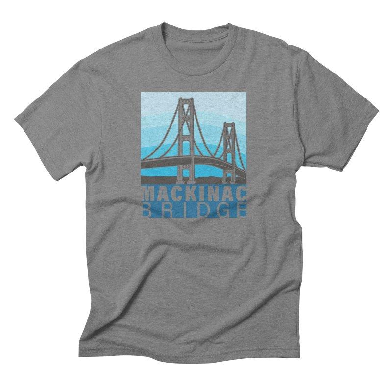 Mackinac Bridge Illustration Men's Triblend T-Shirt by 21 Squirrels Brewery Shop