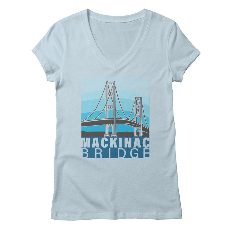 Mackinac Bridge Illustration Women's Regular V-Neck by 21 Squirrels Brewery Shop