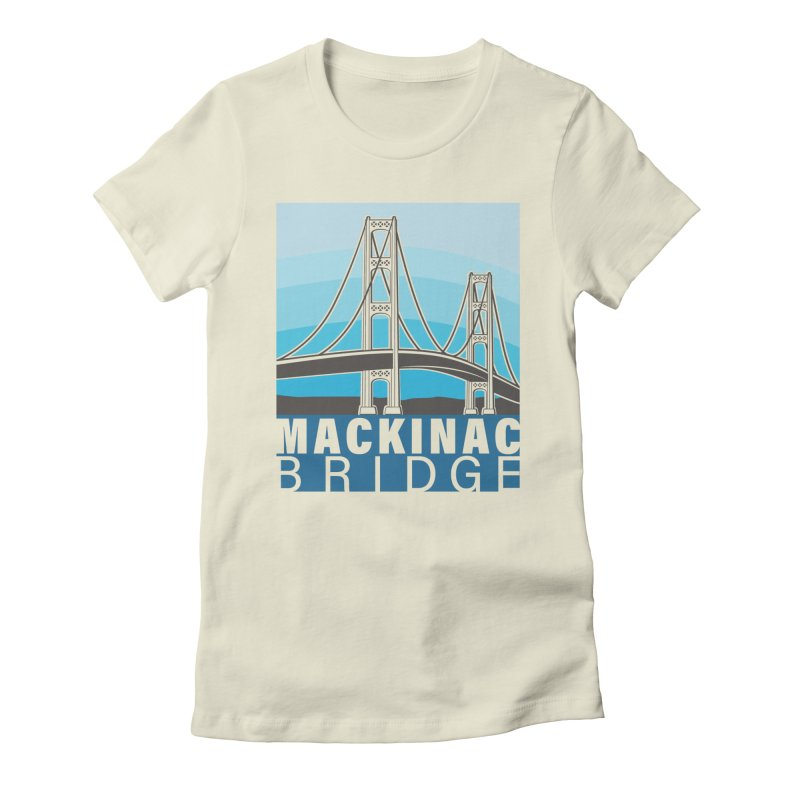 Mackinac Bridge Illustration Women's Fitted T-Shirt by 21 Squirrels Brewery Shop