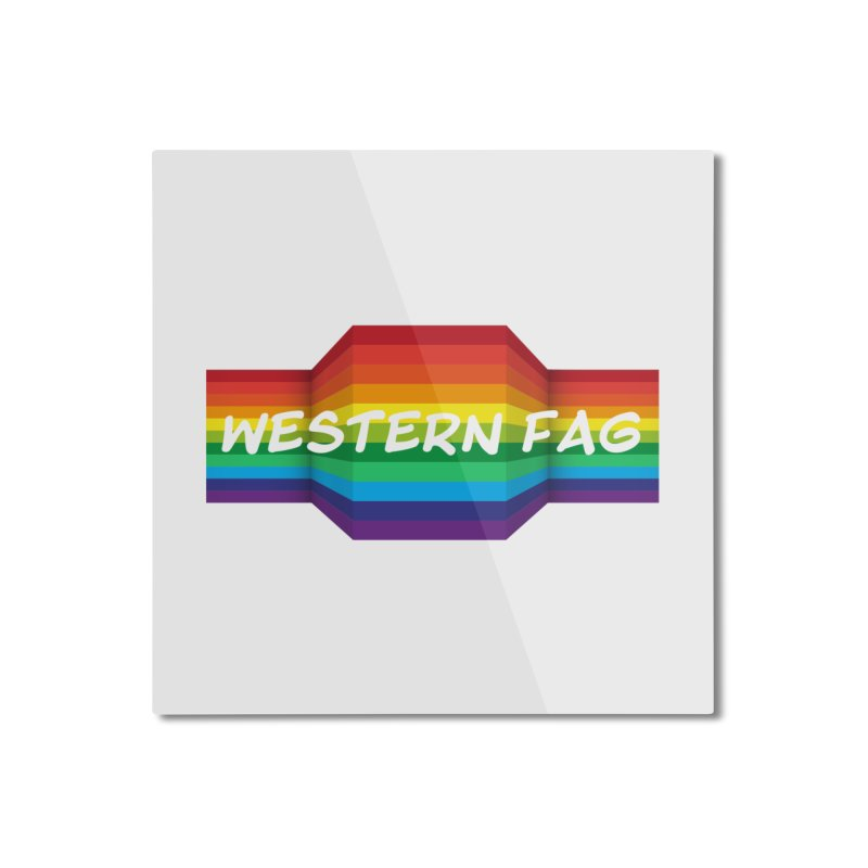 Western Fag Home Mounted Aluminum Print by 21 Squirrels Brewery Shop