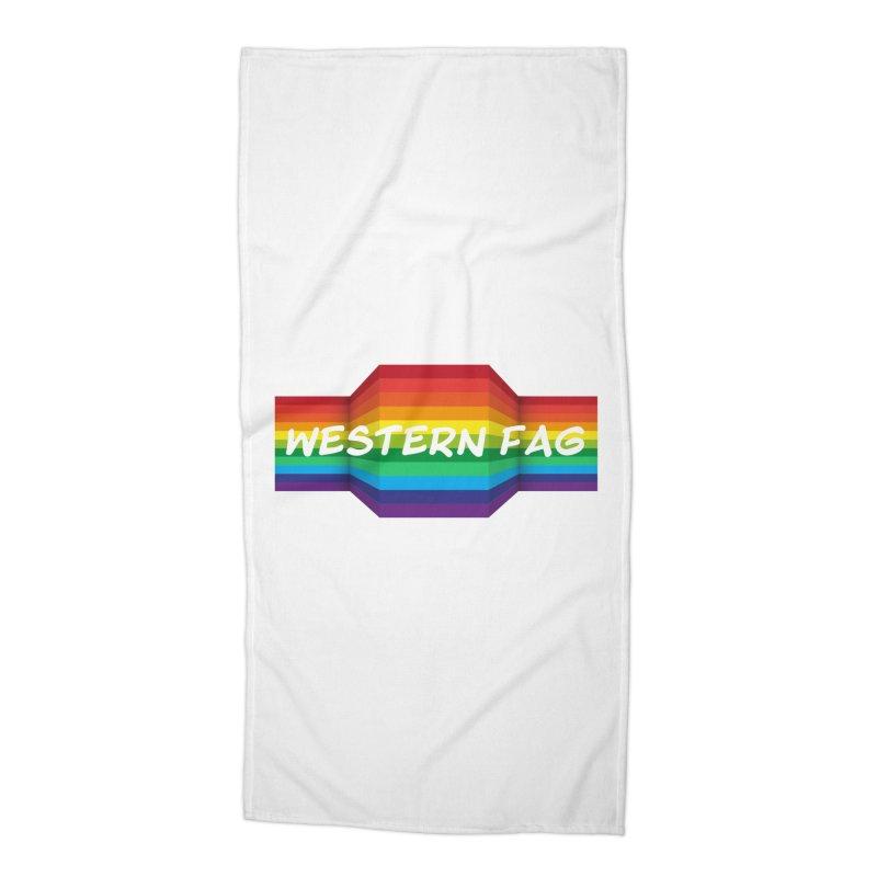Western Fag Accessories Beach Towel by 21 Squirrels Brewery Shop
