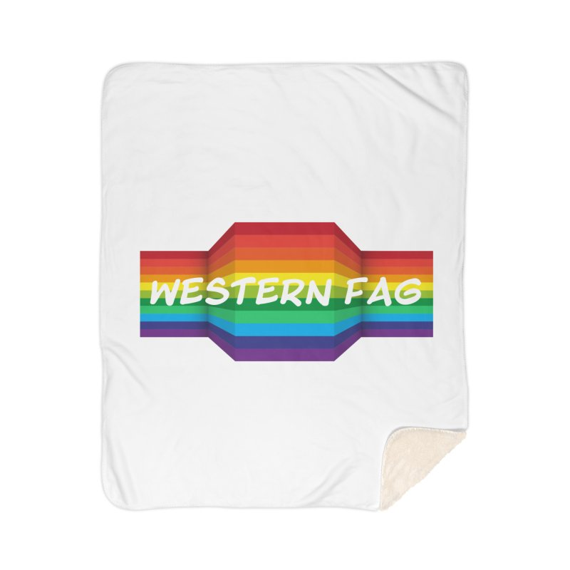 Western Fag Home Sherpa Blanket Blanket by 21 Squirrels Brewery Shop