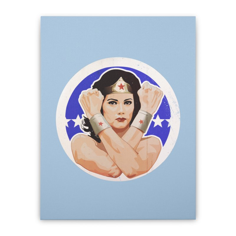 Lynda Carter as Wonder Woman Illustration Home Stretched Canvas by 21 Squirrels Brewery Shop