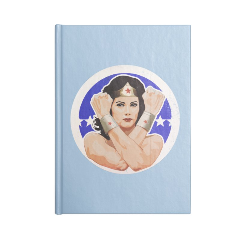 Lynda Carter as Wonder Woman Illustration Accessories Blank Journal Notebook by 21 Squirrels Brewery Shop